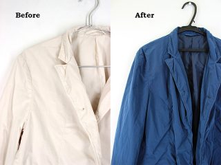 ポリエステル素材のジャケットを染め替え