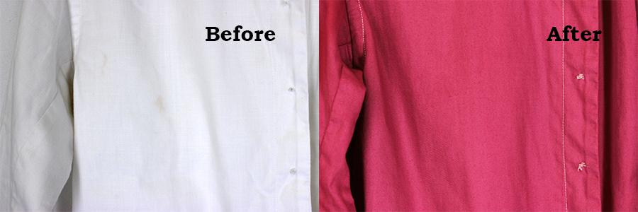 しみのついた白い服を染め替え