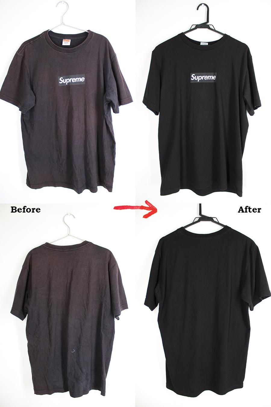 シュプリームTシャツの色あせを染め直し