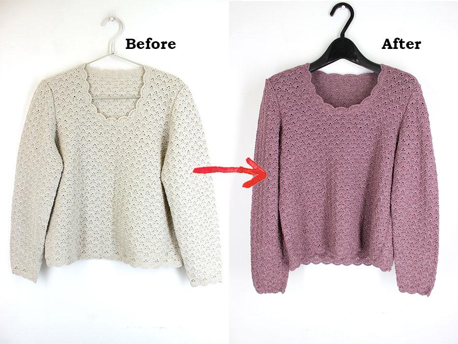 手編みセーターの染め替え