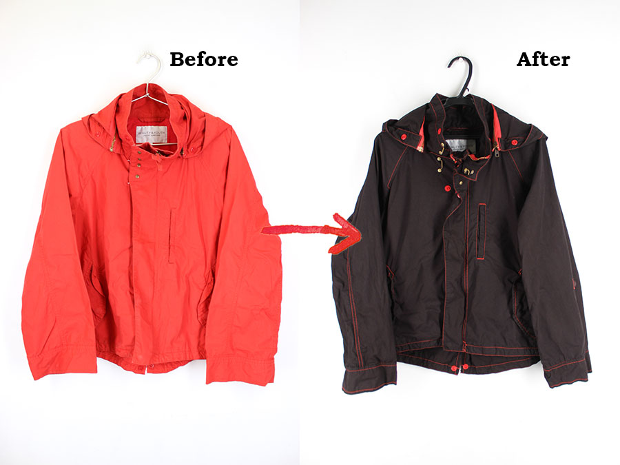 赤いジャケットを黒に染め替え